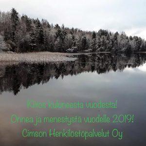 Onnea ja menestystä vuodelle 2019! Cimson Henkilöstöpalvelut Oy rekrytointi Henkilöstövuokraus Helsinki Tampere