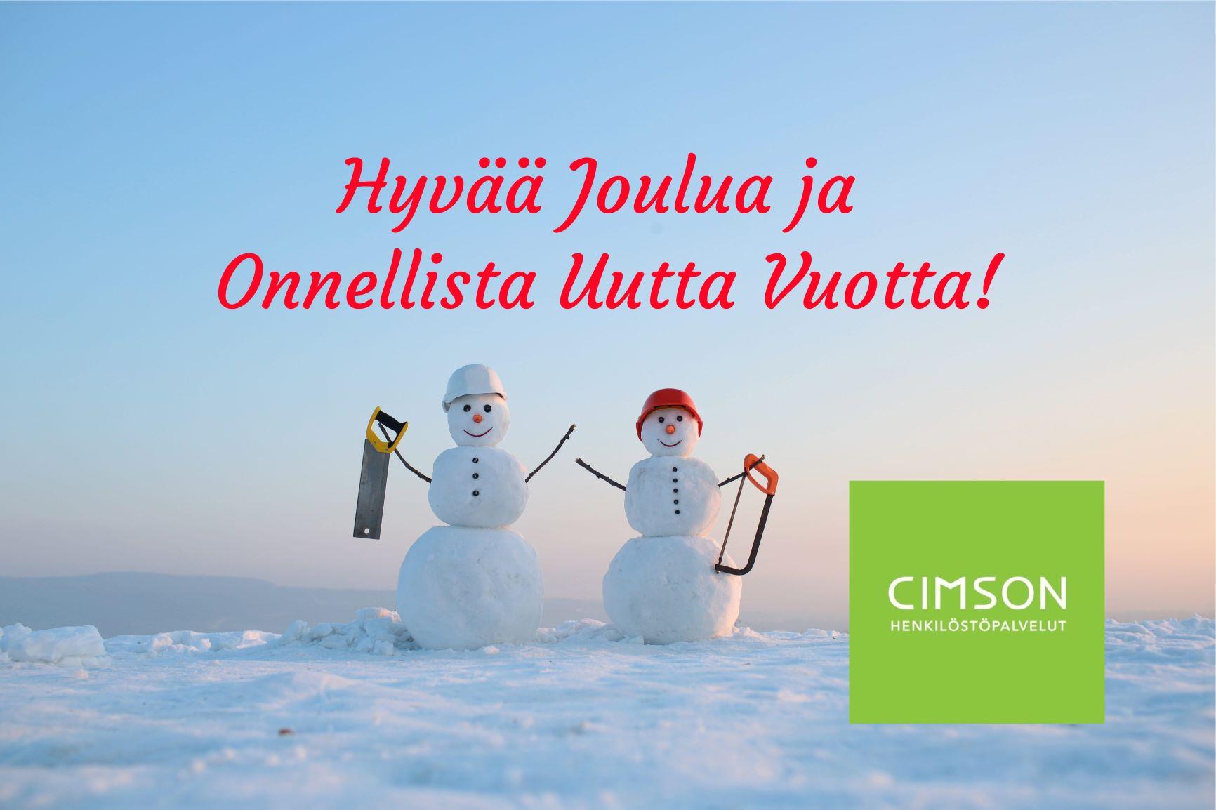 Hyvää Joulua ja Onnellista Uutta Vuotta Cimson Henkilöstöpalvelut rekry rekrytointi henkilöstövuokraus